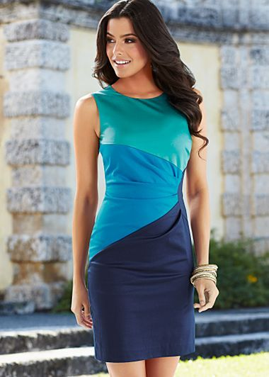 Navy Multi (NVMU) Pleated Color Block Dress $29