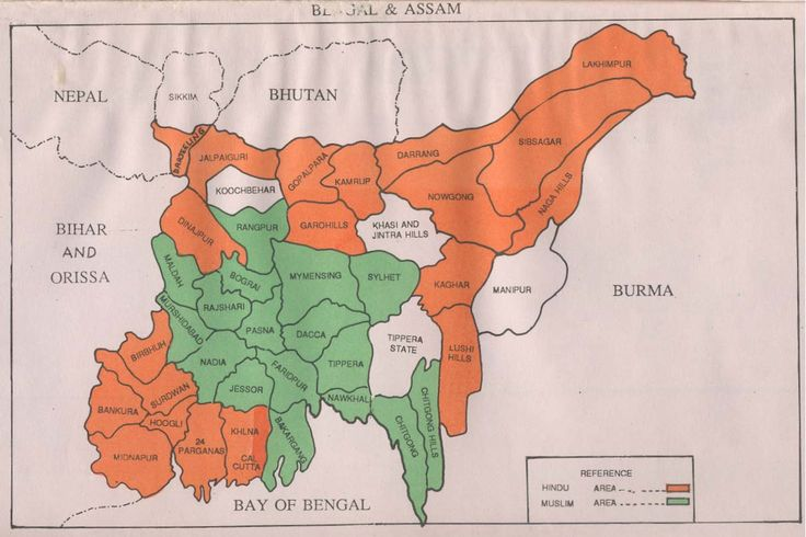 District wise religious demographic map of Bengal and Assam before partition of India