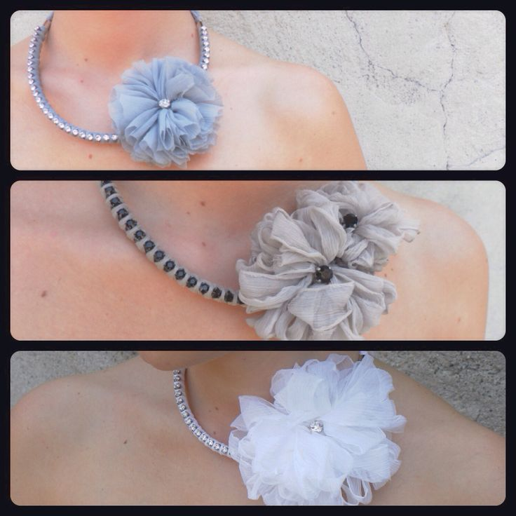 Necklace with strass and silk flowers