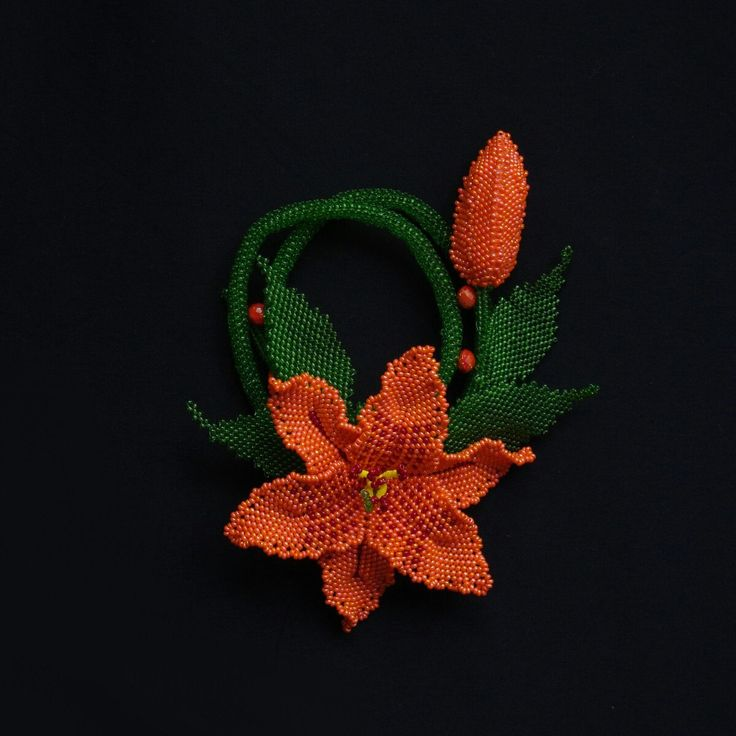 Flame in the night #gift #present #jewelry #necklace #mother #handmade #bead #beaded #lily  #orange #spring #flower #OOAK #forher #freshness #fire #black #dark #flame