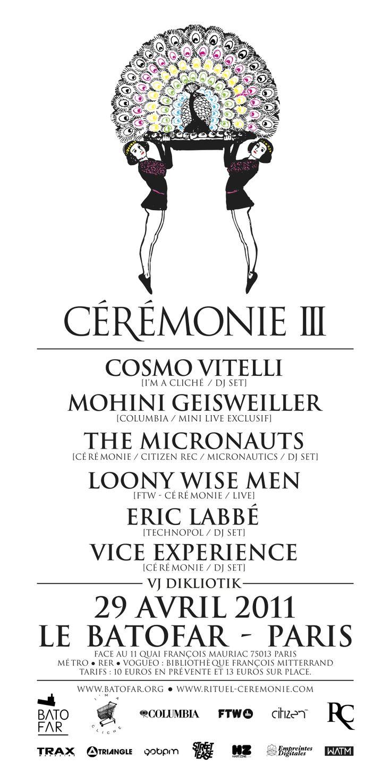 Cérémonie III @ Batofar (Paris), 29/04/2011