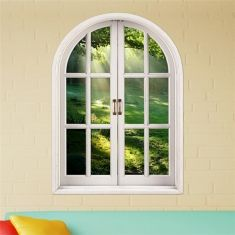 3D Brightness Of Forest Stickers Artificial Window View 3D Wall Decals Home Decor Gift
