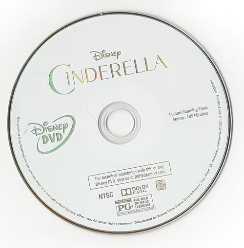 Cinderella DVD Walt Disney Pictures 2015 DVD Professionally Cleaned