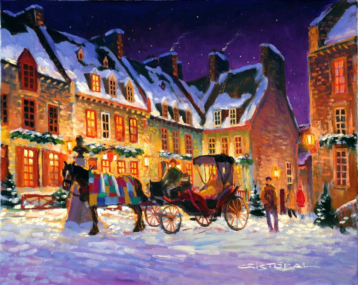 """Soir d'hiver sur la Place Royale (16"""" x 20"""")"""