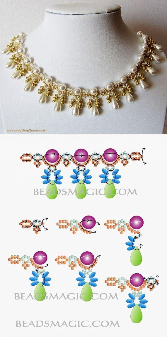 Схемы: разнообразные колье / Схемы / Бусинка