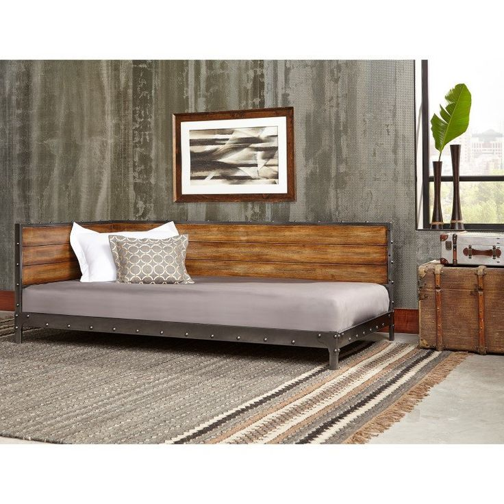 Jan 2, 2020 - Fashion Bed Group Emmett Metal Corner Daybed with Reclaimed Wood Design and Height Adjustable Legs - Rustic Tobacco Finish - Twin