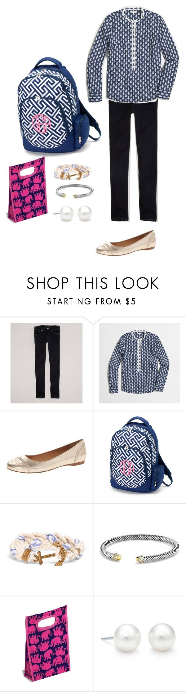 """""""School Tomorrow"""" by ohsnapitsal ❤ liked on Polyvore featuring American Eagle Outfitters, J.Crew, Jack Rogers, Brooks Brothers, David Yurman, Lilly Pulitzer and Tiffany & Co."""