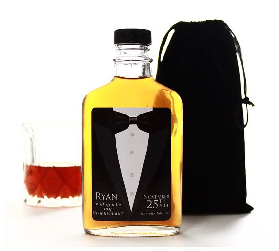 Will You Be My Groomsman Custom Glass Flask by thehairofthedog