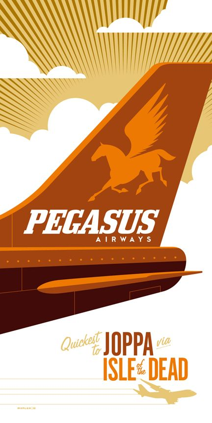 Pegasus Airlines,  Retro travel posters inspired by '80s pop culture  by illustrators Tom Whalen and Dave Perillo.  #vintage_posters  #travel_posters