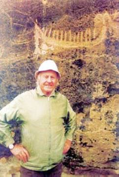 thor heyerdahl at gobustan caves in azerbaijan