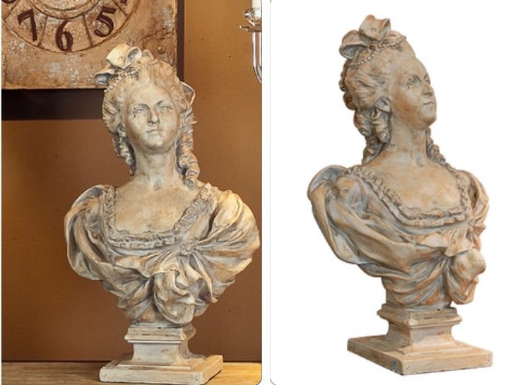 """Large cement Victorian lady Bust Statue $159 SKU #: Cement lady bust. - Phil Bee Interiors. Overall size: 15.75""""H x 25.6""""W x 11.8""""D (40cm H x 65cm W x 30cm D)  ~ Furniture Online, Outdoor Furniture, Beds, Lighting, Bar stools, Rugs – ZIZO 
