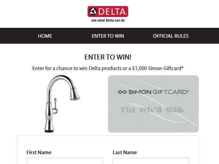 Enter The Delta Faucet for Moms Sweepstakes for a chance to win a Delta Single Handle Pull-Down Kitchen Faucet with Touch2O Technology and a $1,000 Simon Gift Card!