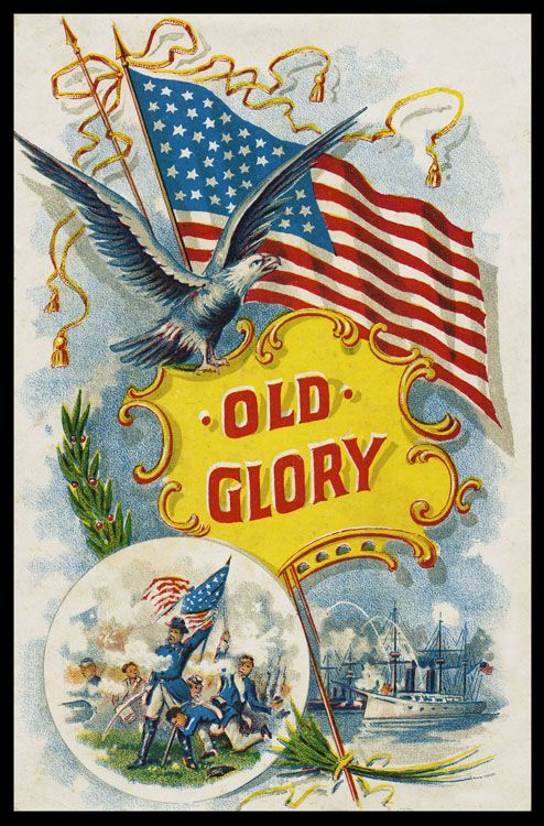 Patriotic vintage postcard Old Glory