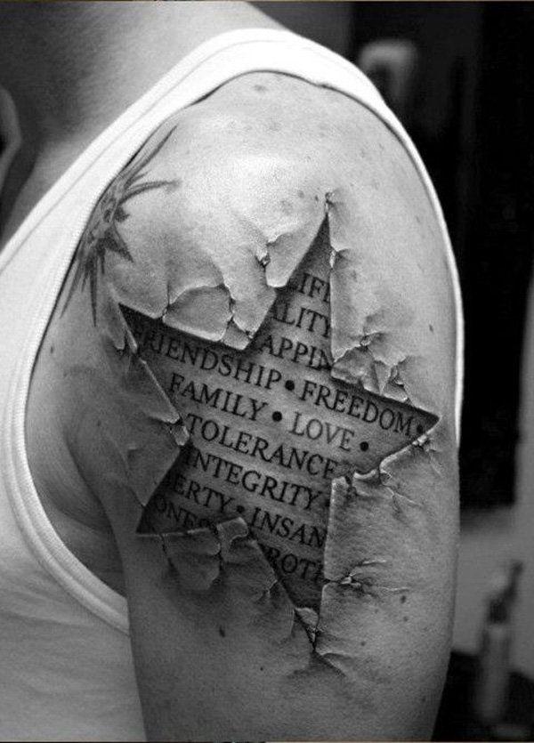 35 Star quarter sleeve tattoo