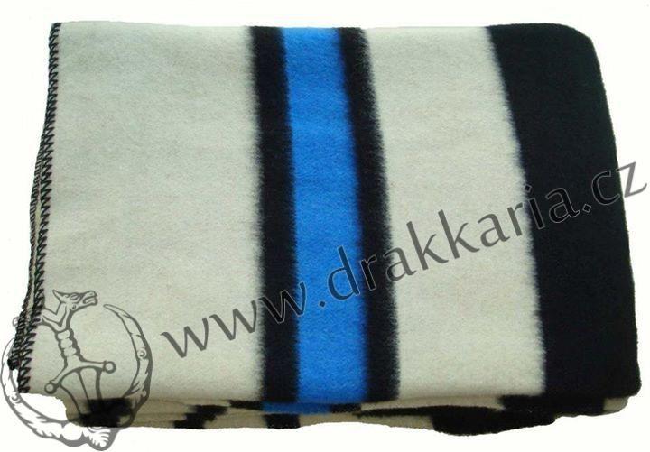 RAINBOW modrá, bílá, černá, vlněná deka