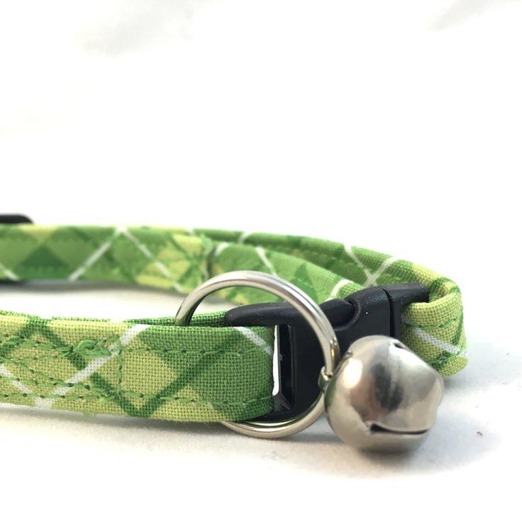 Green Plaid Cat Collar/Modern Cat Collar/Breakaway Cat Collar/Plaid Dog Collar/Modern Collar/Girl Collar/Trendy Cat Collar/Fancy Cat Collar by TellerHill on Etsy