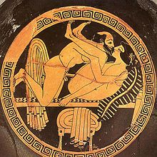 Tondo of an Attic red-figure kylix by the Triptolemos painter, ca. 470 BC, Museo…