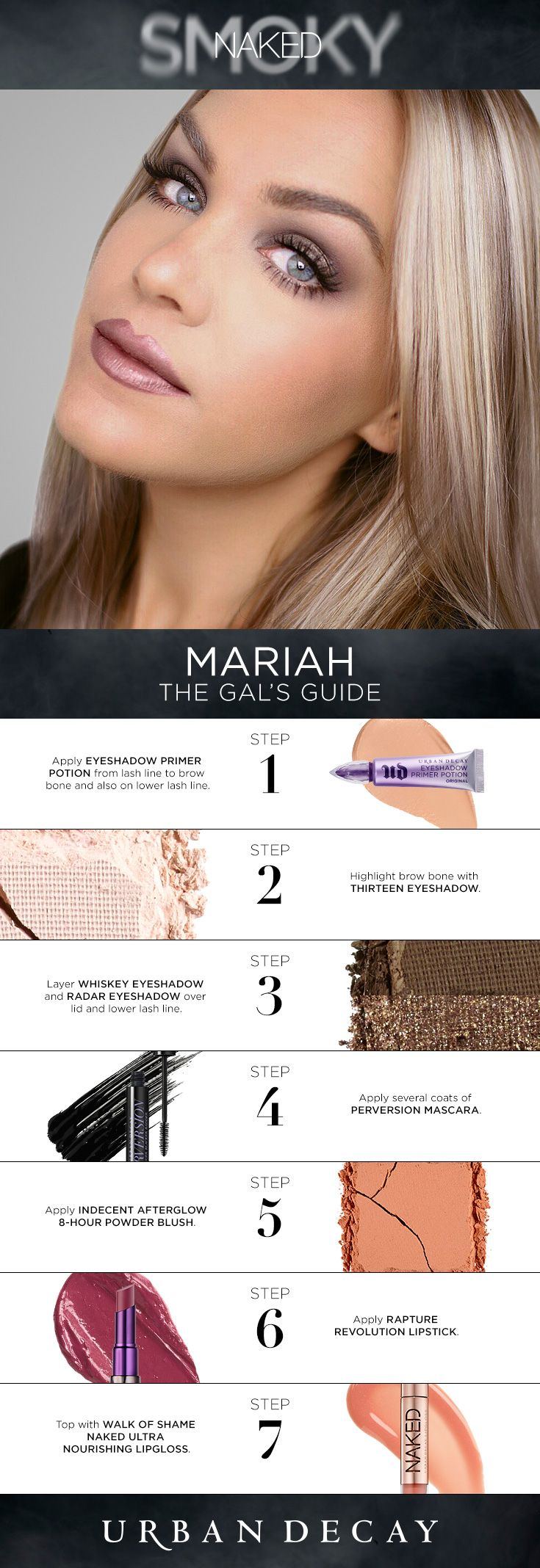 """""""The inspiration behind this look is the modern supermodel. I love that chic, effortless, hazy smoky eye with a hint of glint, topped off with a glossy lip. It's a look that can be worn anywhere and with anything, whether it be on a romantic date or girls' night out."""" -Mariah"""