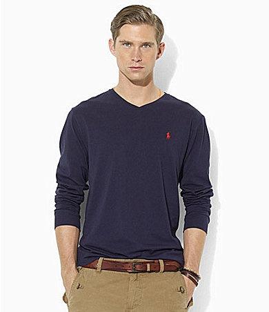 Cotton T PackCheap Ralph Neck Long Lauren White Polo V Shirt3 nNwOmy8v0