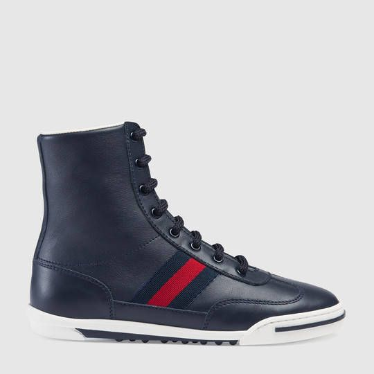 Gucci Children's leather high-top with Web
