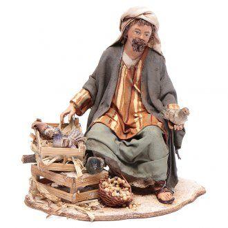 Pastore seduto con colombe 13 cm presepe Angela Tripi | vendita online su HOLYART