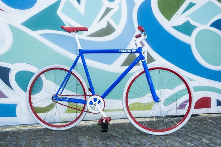 Blue FunkedUp Fixie with standard 30mm rims and white tyres