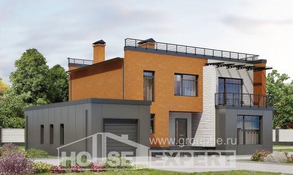 260-002-L Projekt domu dwukondygnacyjnego i garażem, piękny domek wiejski z bloków betonu keramzytowego, Łódź