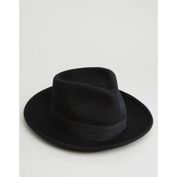 Brixton Fedora Hat Swindle with Wide Brim (£45) ❤ liked on Polyvore featuring men's fashion, men's accessories, men's hats, black, mens fedora hats, mens wide brim hats, men's brimmed hats and mens wide brim fedora hats