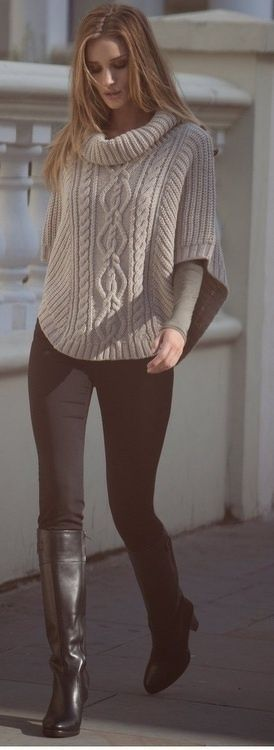 Knit poncho Over the Knee Boots