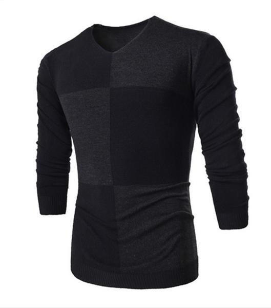 Men's European Style Geometric Pattern Round Collar Sweater - 3 Colors-Men's Tops-Wickydeez