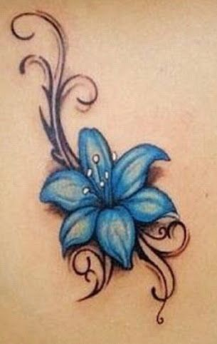 blue lily flower tattoo - Google Search