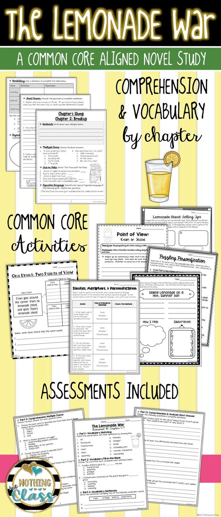 The Lemonade War Novel Study Unit: comprehension, vocabulary, activities,  tests