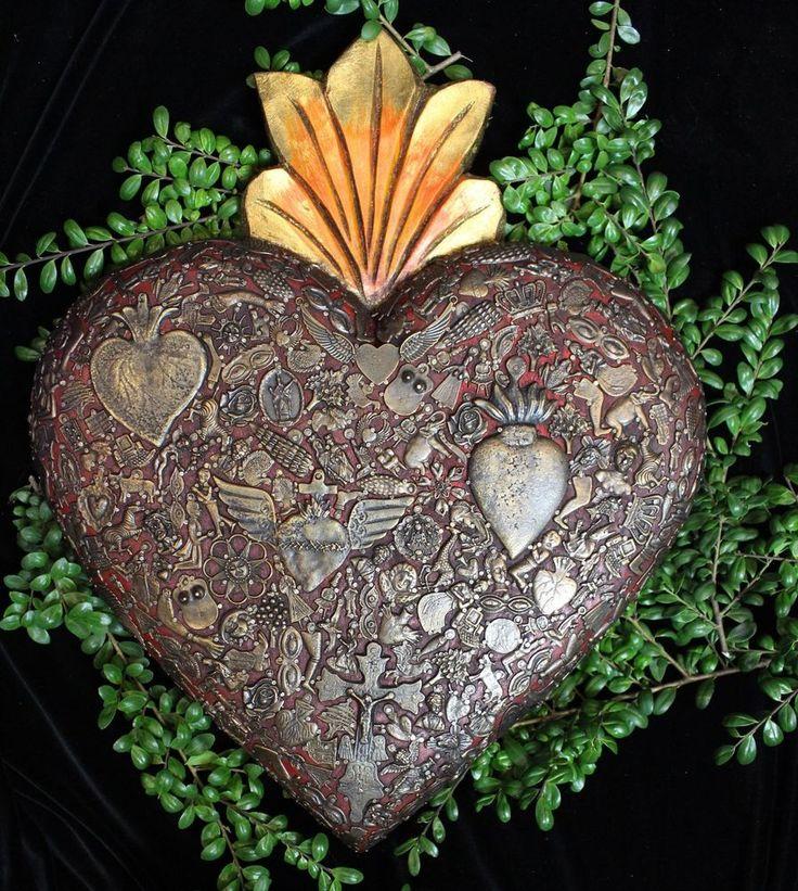 Gigantic Wood Heart with Milagro Miracle Ex Voto, Folk Art Michoacán Mexico