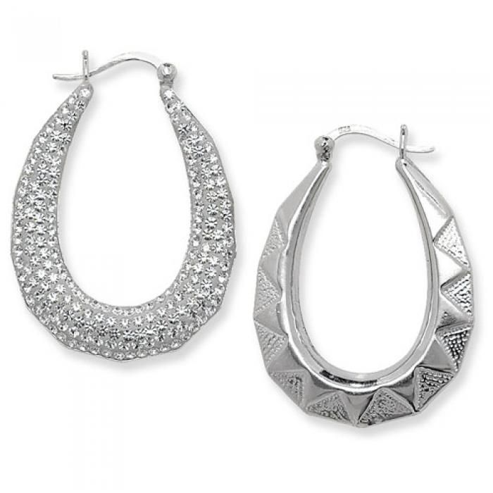 925 SILVER WHITE CRYSTAL PAVE SET PEAR SHAPE CREOLE EARRINGS - Attenborough Pawnbrokers & Jewellers #silver #earrings #jewellery #attenborough #bethnalgreen #london