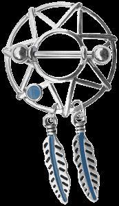 Piercing Schmuck Shop -  Brust Piercing Schmuck Pewter Schild - Traumfänger mit Stern