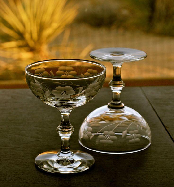 Vintage Etched Crystal Champagne Coupe Stemmed Sherbet Set Peach Bloom By Libbey Rock Sharpe