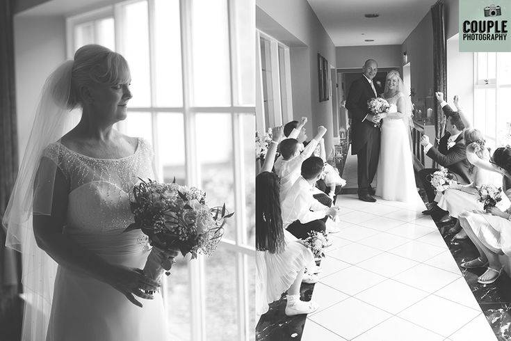 Black & white photos of the bride, and the bridal party by the window light. Weddings at The Johnstown Estate, photographed by Couple Photography.
