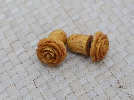 I WANT!! Small Yellow Rose Earring, Fake Gauge Earrings, Wooden Earrings, Fake Plug Earrings