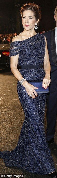 Midnight hue: The Crown Princess often turns to classic black and navy for the red carpet ...