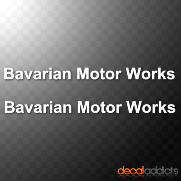 2x Bavarian Motor Works - Vinyl Car Decals Stickers, BMW 3 5 Msport m3 m5 295mm - German performance
