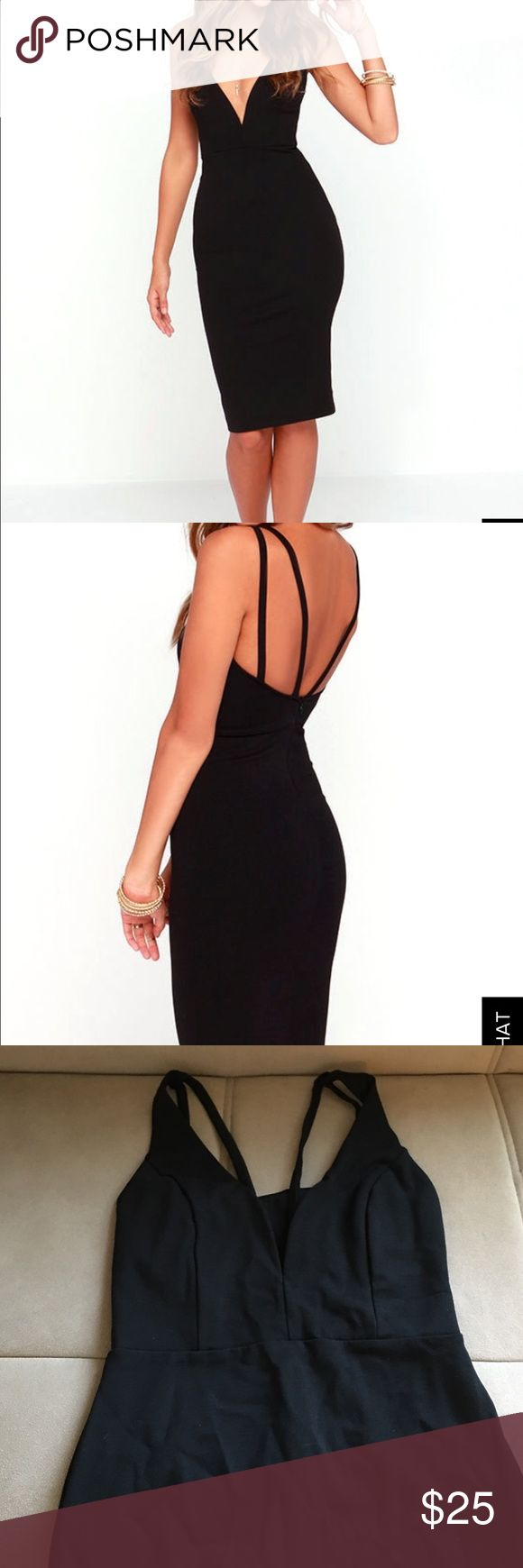Deep V Neck Black Dress Stretchy comfortable material! Lulu's Dresses Midi