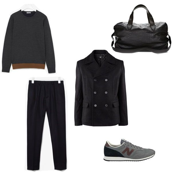 Fashion Selection n°9 (for men) : H&M caban, Cos pull, Cos trouser, New Balance shoes, Alexander Wang bag : http://bewaremag.com/2012/10/14/selection-mode9/