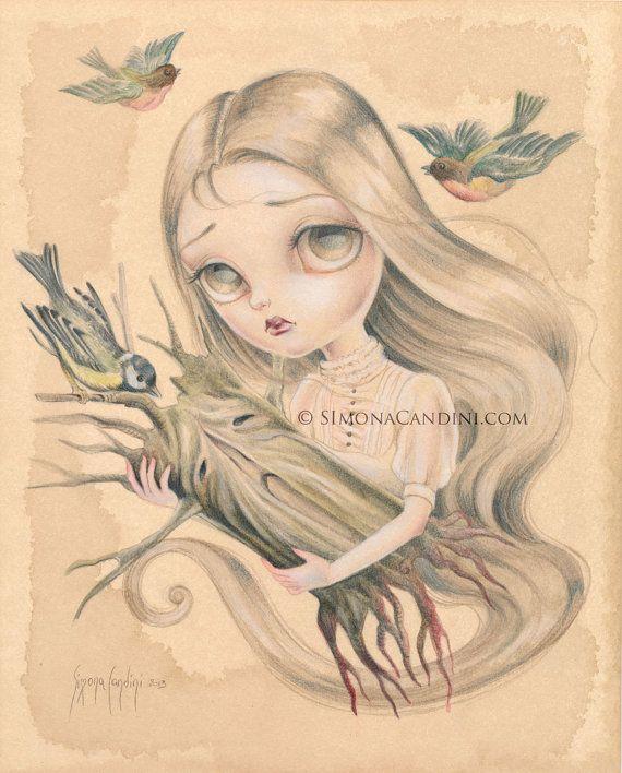 Dernière chanson pour M. moignon LIMITED EDITION impression numérotée signée Simona Candini art lowbrow pop surréaliste de grands yeux