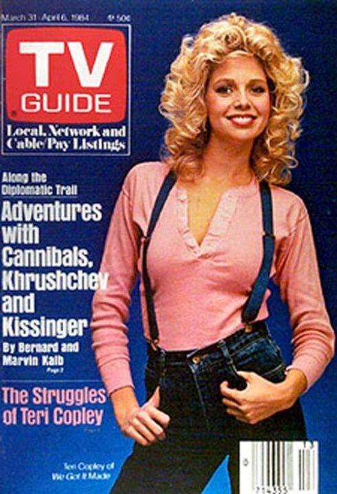 Teri Copley wearing jeans and suspenders  TV Guide 1984