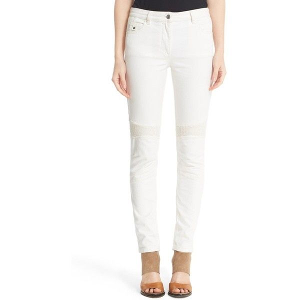 Women's Belstaff Mawgan 2.0 Moto Skinny Jeans (1.195 BRL) ❤ liked on Polyvore featuring jeans, off white, denim skinny jeans, biker style jeans, form fitting jeans, off white jeans and skinny fit jeans