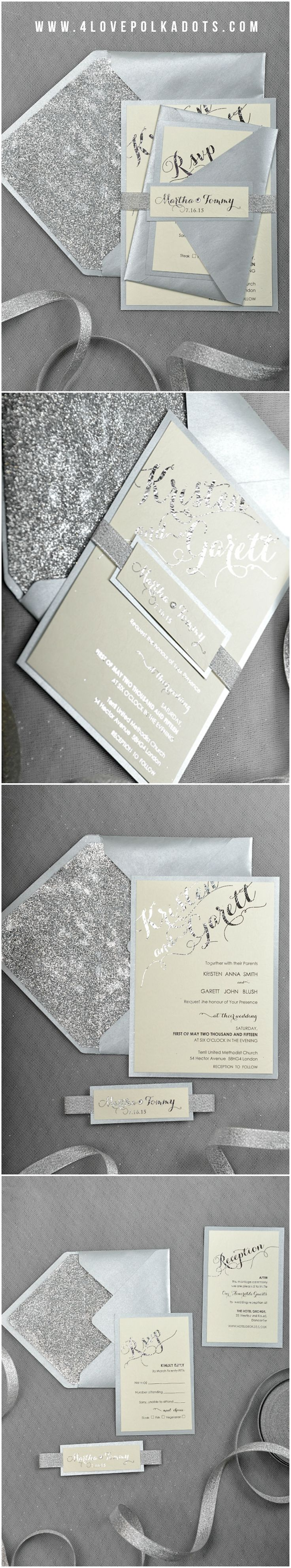 Silver Glitter Wedding Invitations #elegant #silver #glitter #sparkling #shiny #weddingideas #weddinginvitations #glamorous #silverwedding
