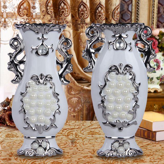 Nueva tecnología de diamantes Hecha A Mano florero de cerámica creativa de alto grado de porcelana blanca arte flor adornos Muebles Para El Hogar