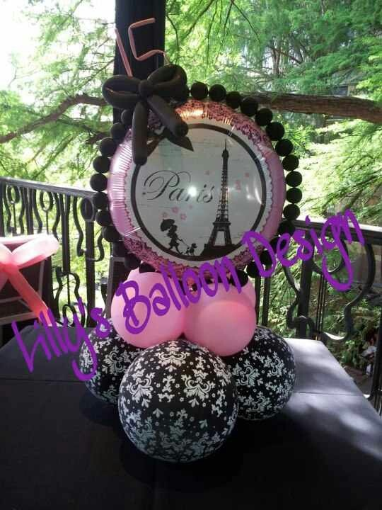 Paris theme party balloon centerpieces lilly s