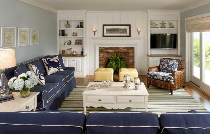 Navy Family Room Decor