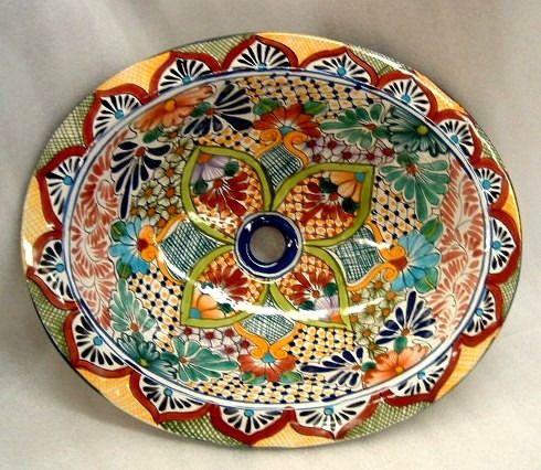 Bachas pintadas a mano ovaladas redondas rectangulares for Azulejos rectangulares